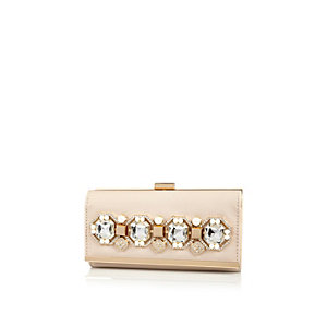 Cream embellished purse