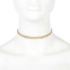 Gold tone delicate chain choker