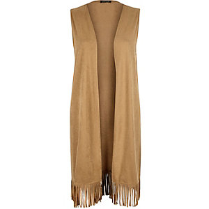 Light brown faux suede sleeveless cape