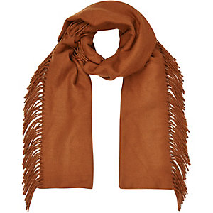 Rust brown tassel side scarf