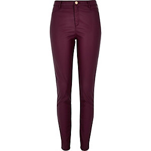 Dark red leather-look skinny trousers