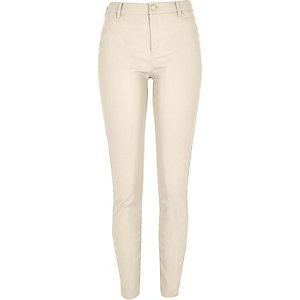 Beige skinny leather-look pants