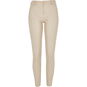 Beige skinny leather-look trousers