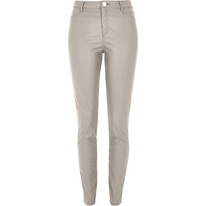 Grey skinny leather-look trousers