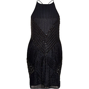 Navy bead embellished cami dress