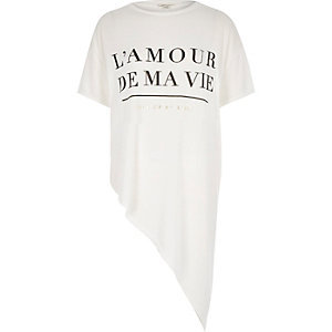 White love print asymmetric t-shirt