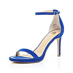 Blue barely there sandal heels