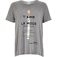 Grey slogan print swing t-shirt