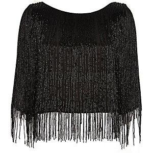 Black bead embellished crop top