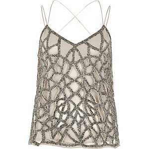 Grey embellished strappy cami