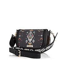 Black tapestry print saddle bag