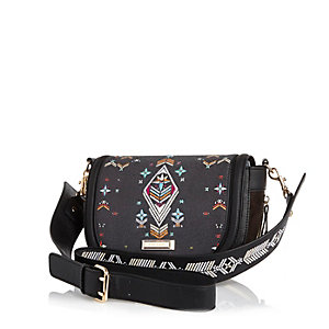 Black tapestry print saddle bag