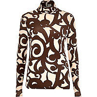 Brown swirl print roll neck top