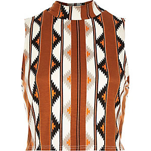 Brown tribal print fitted crop top
