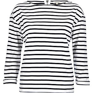 White Breton stripe top