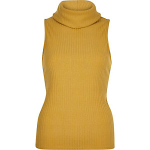 Yellow ribbed cowl neck sleeveless top