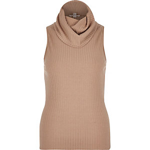 Brown ribbed cowl neck sleeveless top