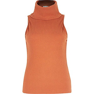 Rust  brown ribbed cowl neck sleeveless top