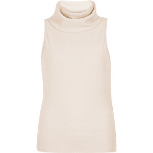 Light pink ribbed cowl neck sleeveless top