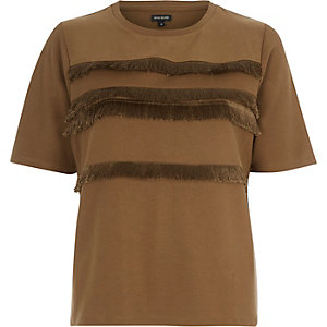 Light brown fringe trim t-shirt