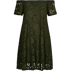 Khaki lace bardot swing dress