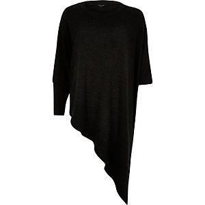 Dark grey asymmetric knitted top
