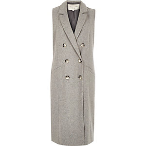 Light grey sleeveless coat