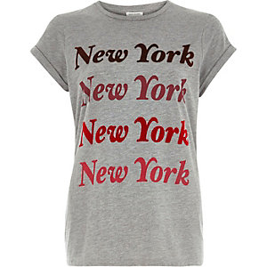 Grey New York print fitted t-shirt