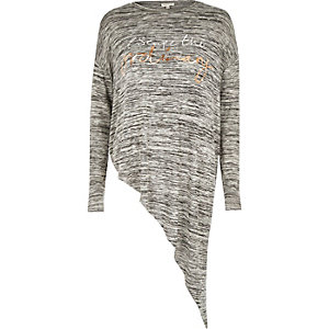 Grey marl slogan print asymmetric top