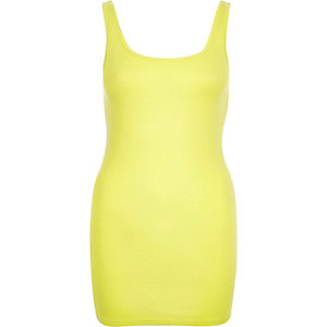 Lime scoop neck longline tank
