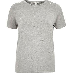 Grey beaded t-shirt