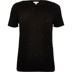 Black beaded t-shirt