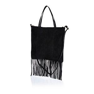 Black leather fringed tote handbag