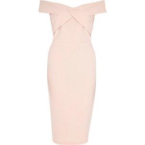 Light pink bardot bodycon dress