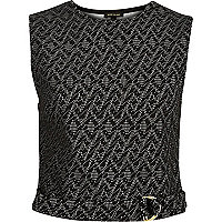 Black jacquard D-ring belt top