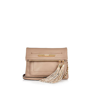 Beige fold over cross body bag