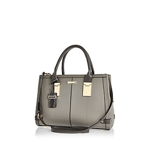Grey hinge handle large tote handbag