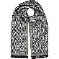 Black geometric print scarf