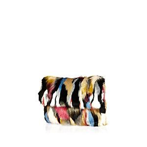 Black patchwork faux-fur clutch bag
