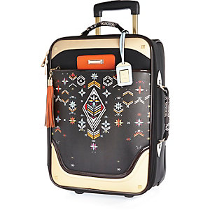 Black embroidery print wheelie suitcase