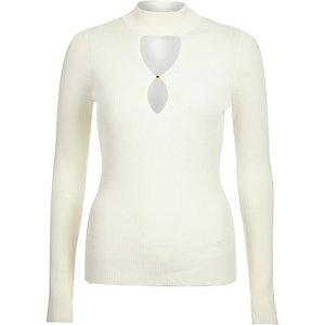 Cream knitted keyhole front top