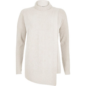 Oatmeal beige asymmetric knitted jumper