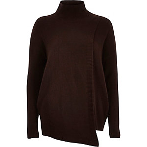 Chocolate brown asymmetric knitted jumper