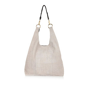 Grey leather slouchy shoulder handbag