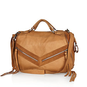 Brown leather zippy bowler handbag