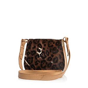 Brown leather leopard print saddle handbag