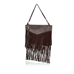 Dark brown leather fringed handbag
