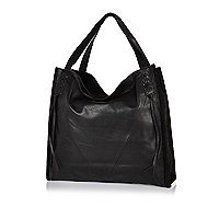 Black leather tote handbag