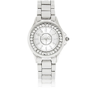 Silver tone gem encrusted watch