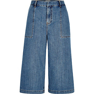 Mid blue wash denim culottes
